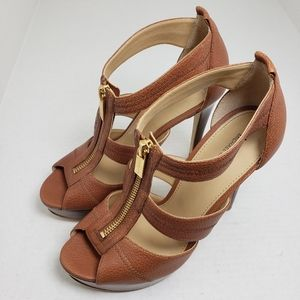 Michael Kors Open Toe Brown Zip Sandals Sz 7M